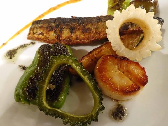 秋刀魚とホタテのポワレ,焼き野菜 3_edit