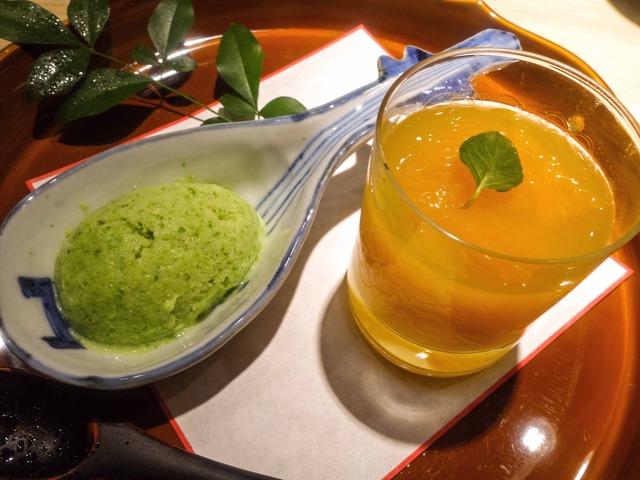 甘味(菜の花のアイス,せとかゼリー) 5_edit