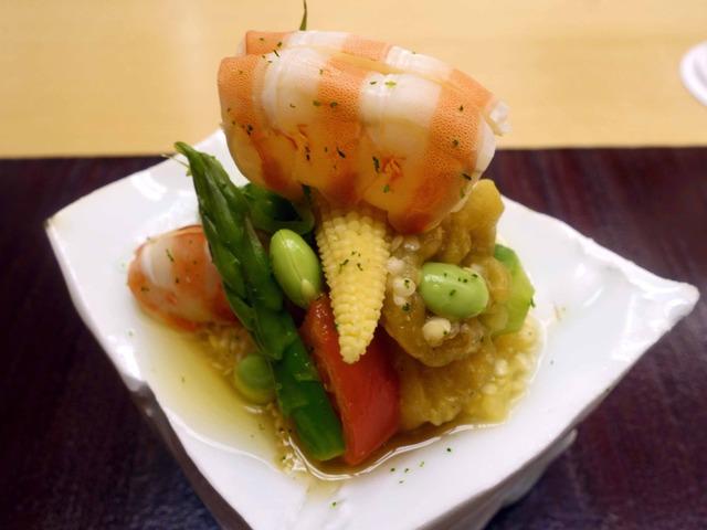 徳島産天然車海老と夏野菜の和え物 4_edit