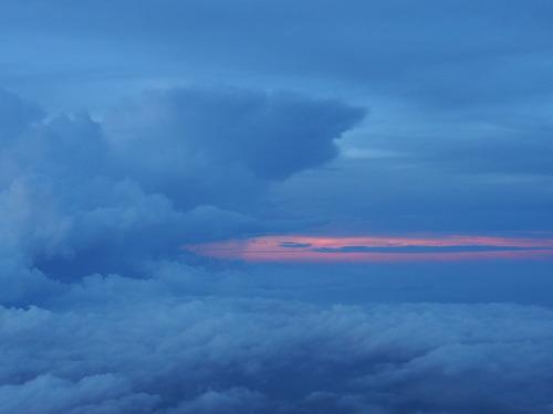 富士登山 (9)雲海と夕日