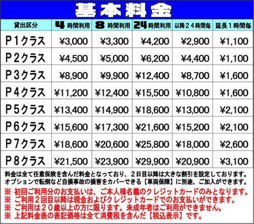 レンタル 料金表