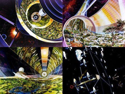 1970年代にNASAが構想した3種の「スペースコロニー」のデザイン