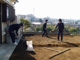 キリシマターフ張りの準備で耕す