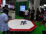 ロボッコ操縦によるTINYWAVEの練習試合も行われた。