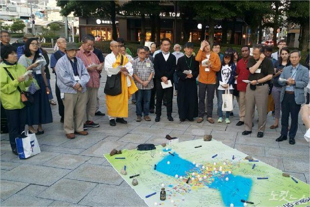 【国内】 広島平和公園で「韓半島平和のためのロウソク祈祷会」開催