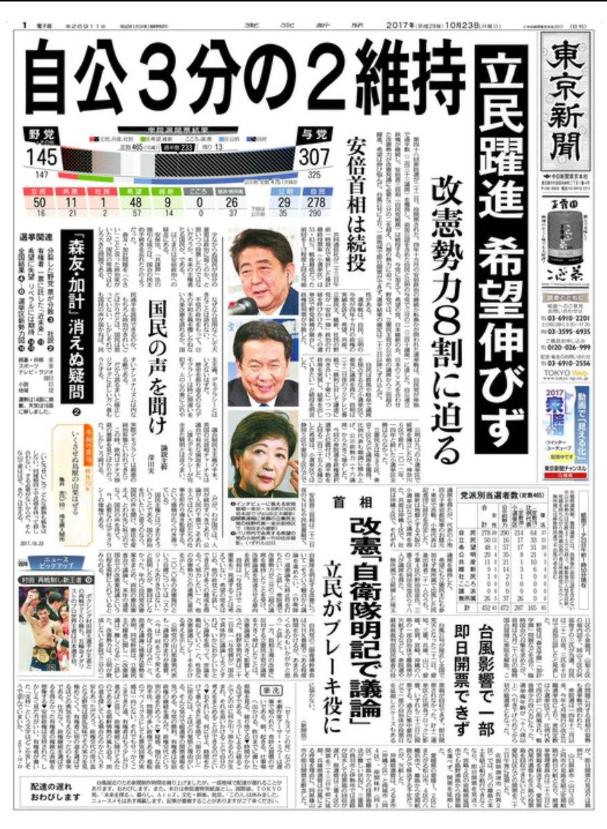 東京新聞、今朝の朝刊の一面の見出しがヒドイwwwwwww