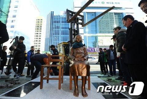 釜山・日本領事館前に少女像設置=韓国で55番目