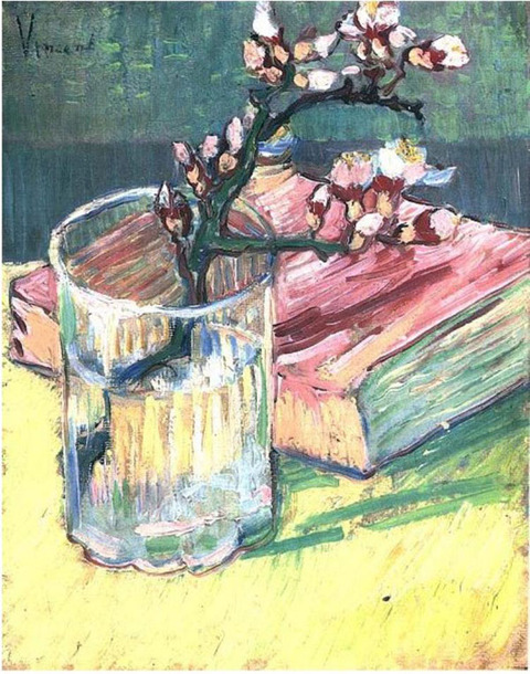 Blossoming-Almond-Branch-in-a-Glass-with-a-Book