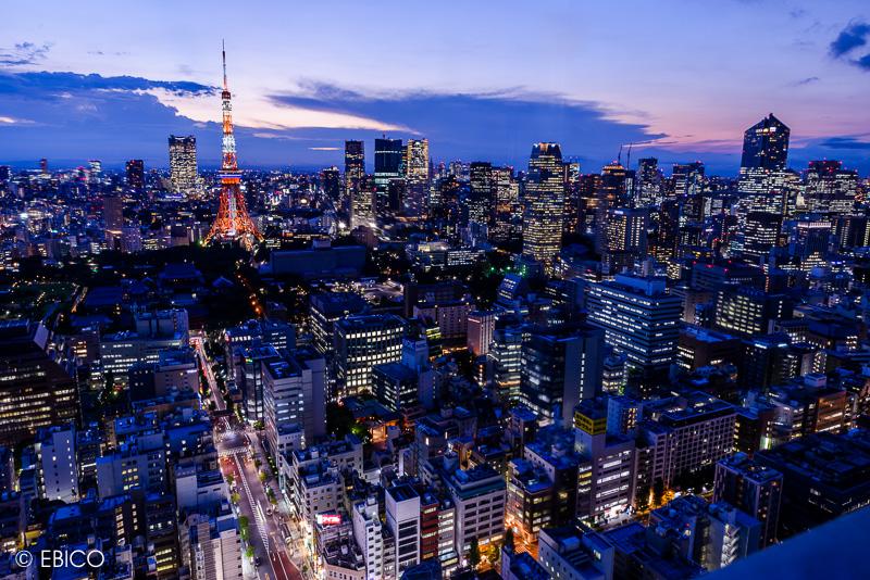 夜の始まり 街に灯りが燈る頃【世界貿易センタービルからの東京タワー夜景】