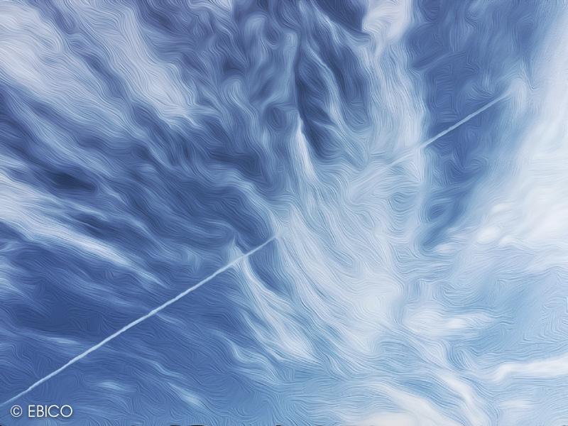 青空の波と一筋のライン