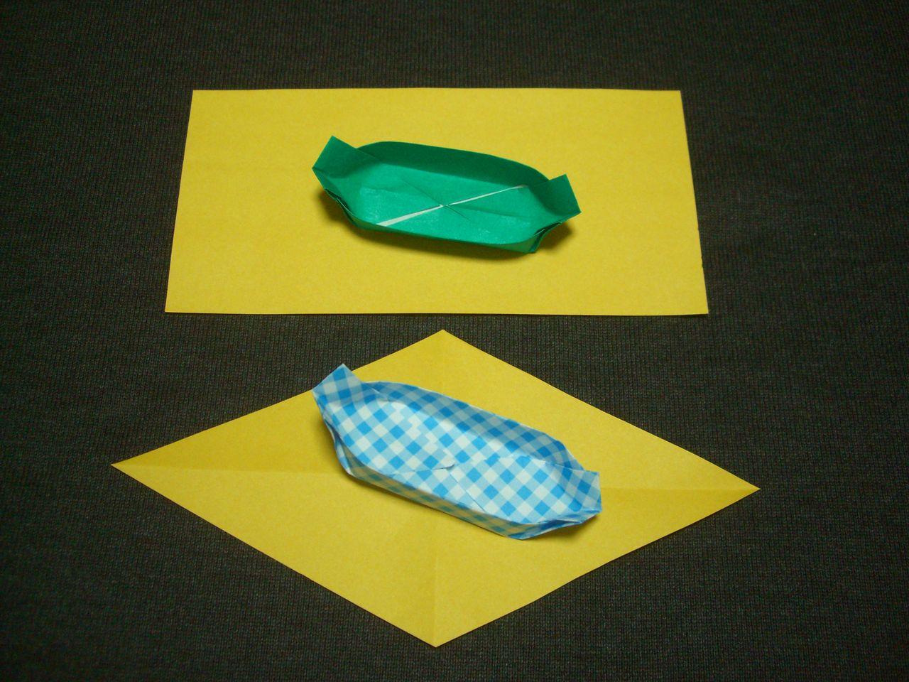 すべての折り紙 折り紙 封筒 長方形 : 折り紙を半分にしてからひし形 ...
