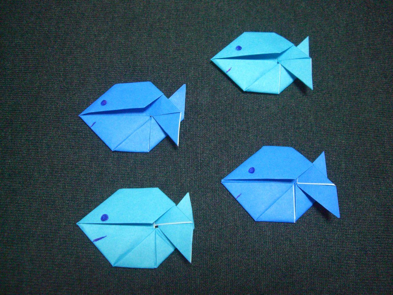 ... おりがみ遊び (折り手紙・お魚 : 箱折り : すべての講義