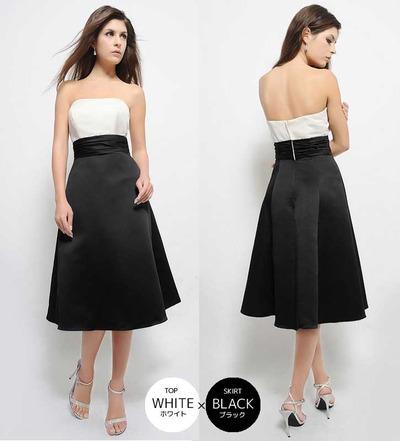 ブラック ホワイト ドレス ブライズメイド