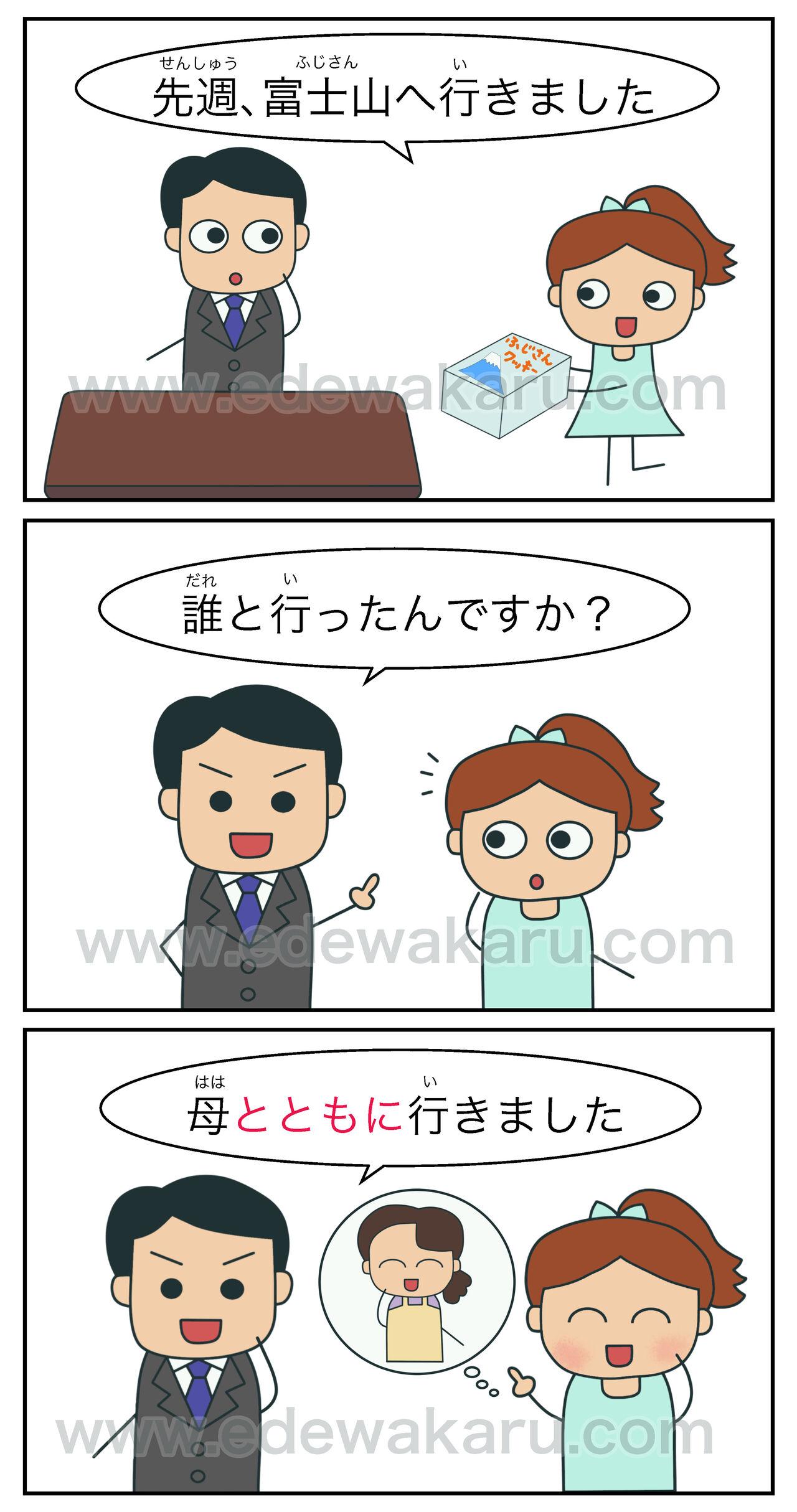 とともに①(一緒) 日本語能力試験 JLPT N3 : 絵でわかる日本語