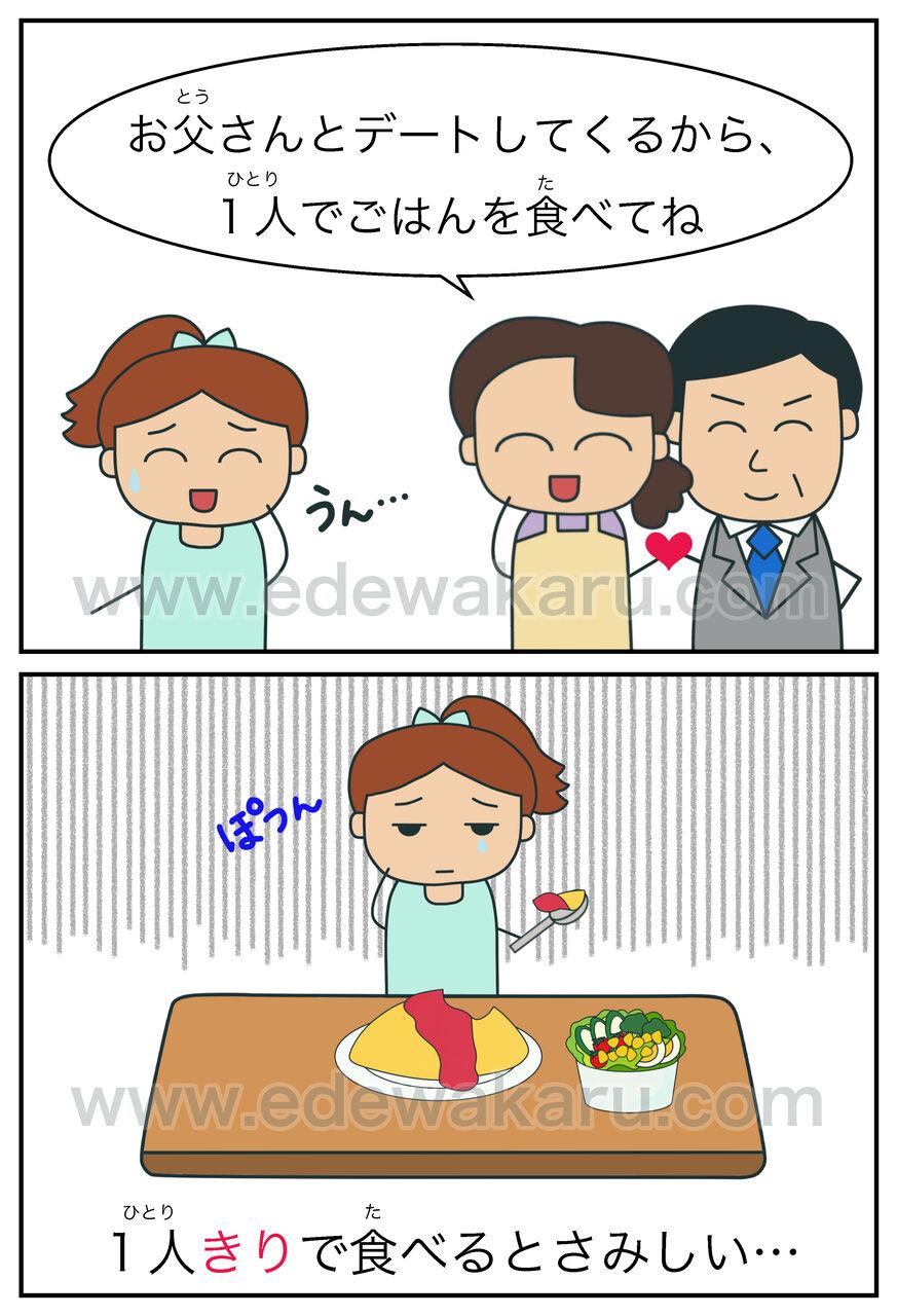 きり|日本語能力試験 JLPTにない文型 : 絵でわかる日本語
