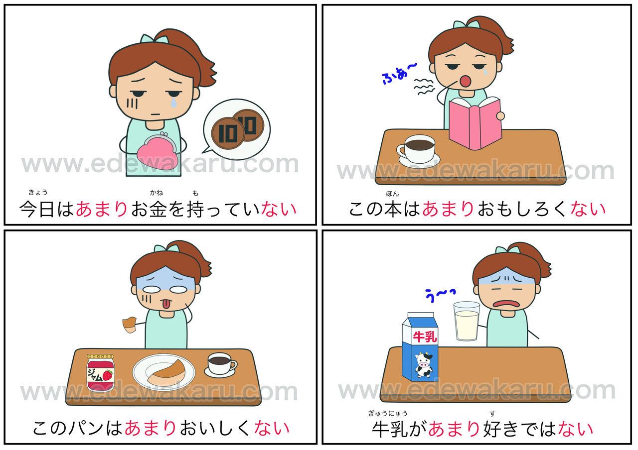 あまり〜ない|日本語能力試験 JLPT N5 : 絵でわかる日本語