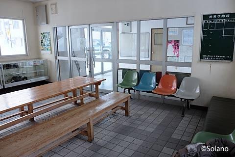 白滝駅の待合室。