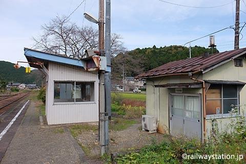 大矢駅上りホームと通信機器室。