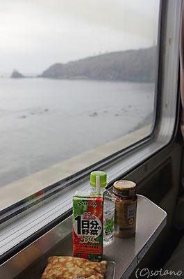 急行きたぐに、青海川駅付近の車窓