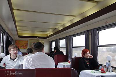 チェコ鉄道、ウィーン行きEC食堂車車内