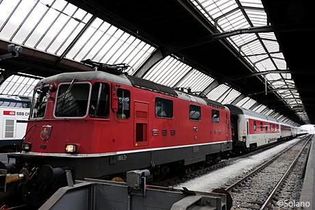 ハンブルグ発のCNL、終着駅のチューリッヒに到着