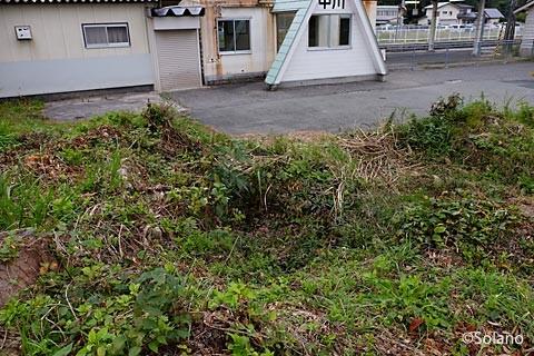 奥羽本線・中川駅の池庭跡と駅舎