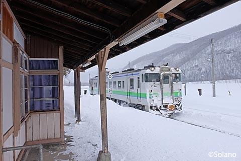 下白滝駅に停車する数少ない普通列車