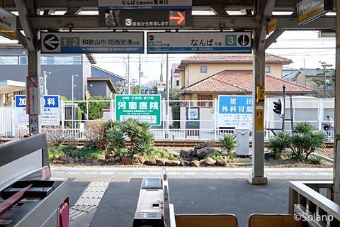 浜寺公園駅、改札口から見る池庭跡の植え込み