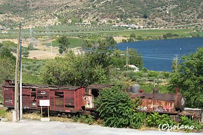 ポシーニョ駅、蒸気機関車と有蓋貨車の廃車体