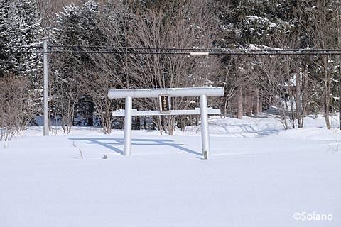 雪に埋もれる上白滝神社