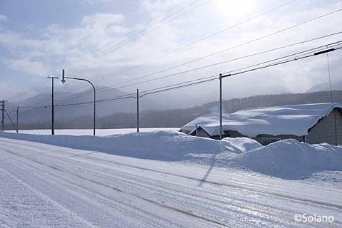 雪深い冬の北海道の駅間徒歩。幸いに晴れ。