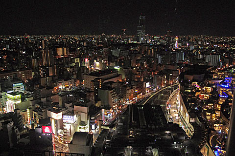 スイスホテル南海大阪から望む大阪の夜景