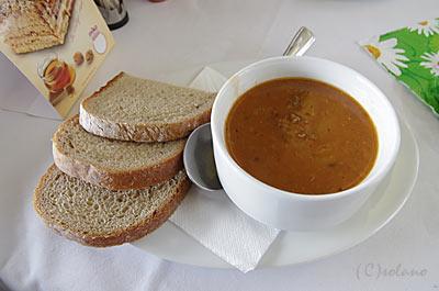 プラハ発ウィーン行EC食堂車、スープとパン