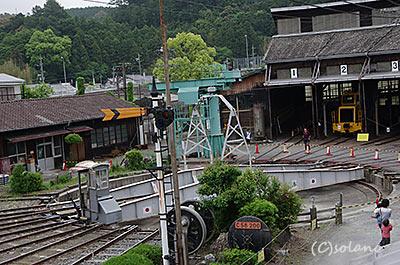 天竜浜名湖鉄道車両基地、扇形車庫(扇形庫)。