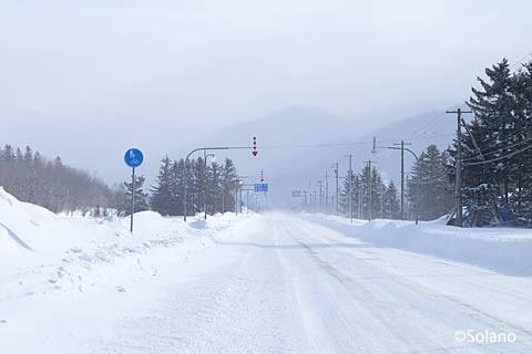 雪が積もる中、いざ駅間徒歩で上白滝駅から白滝駅へ…