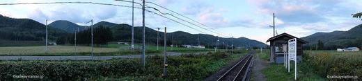 石北本線・旧白滝駅と周囲の風景・パノラマ画像