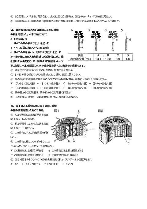 【理科問題】志津中1年第一回定期試験予想問題③