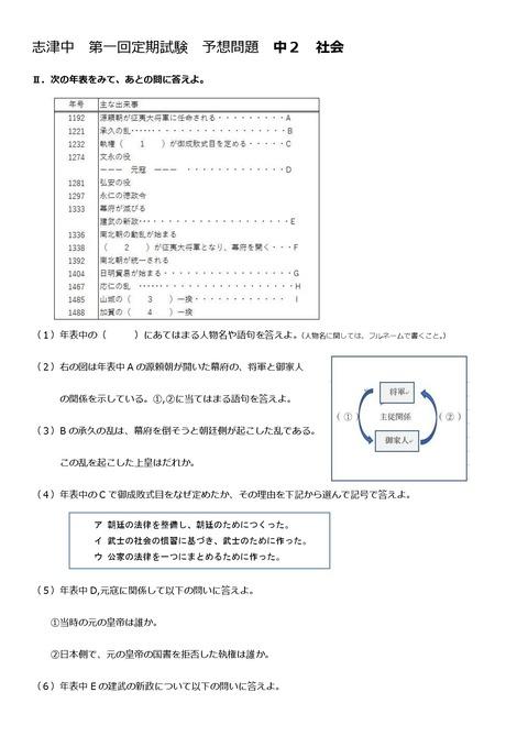 【社会問題】志津中2年第一回定期試験予想問題①
