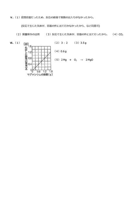 【理科解答】上志津中2年第一回定期試験予想問題②