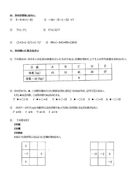 【数学問題】志津中1年第一回定期試験予想問題②