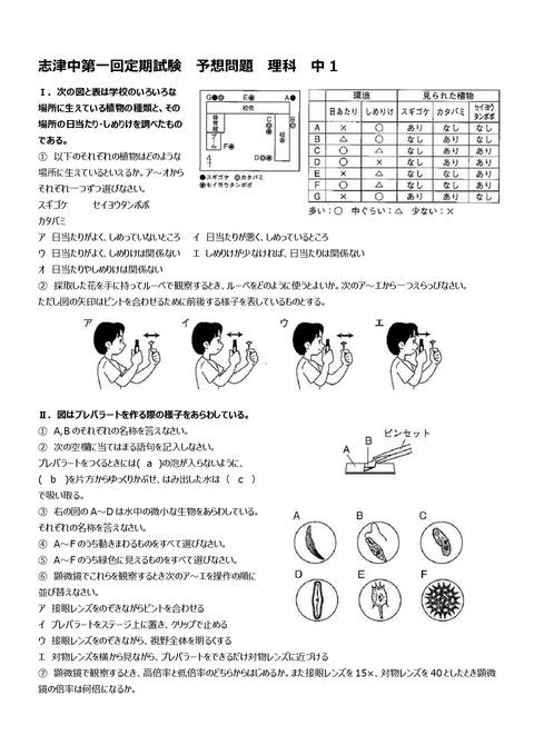 【理科問題】志津中1年第一回定期試験予想問題①