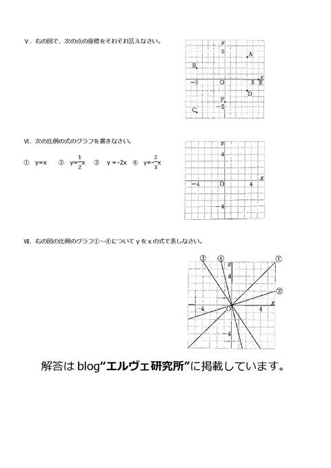 上志津中第三回定期試験予想問題中1数学②