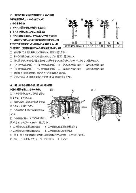 【理科問題】上志津中1年第一回定期試験予想問題③