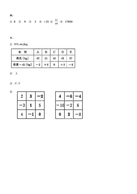 【数学解答】志津中1年第一回定期試験予想問題②