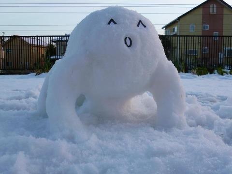【悲報】俺の作った雪だるまが近所のDQNに破壊される_001