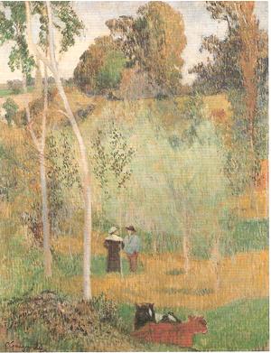 ポール・ゴーギャン《野原での語らい、ポン=タヴァン》1888年