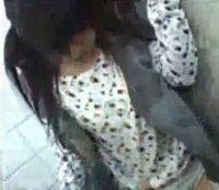 公衆トイレで素人娘が清掃員に中出しレイプされる