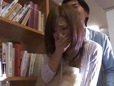 美人若妻が声の出せない図書館で痴漢されトイレに連れて行かれ・・