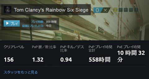【R6S】Steamで900時間、Uplayで558時間
