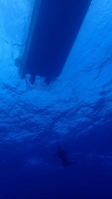 水底から船